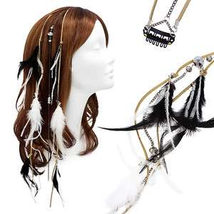 Feather Beaded Hair Extension Mini Hair Clip Comb Leather Cord Black