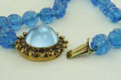 ANTIQUE CHINESE GILT SILVER BLUE PEKING GLASS CARVED BEADS NECKLACE