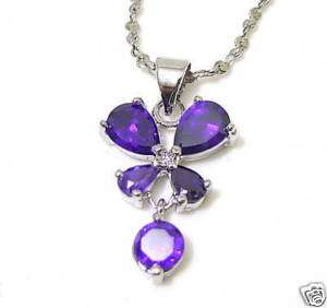 Pear Round butterfly purple amethyst pendant necklace