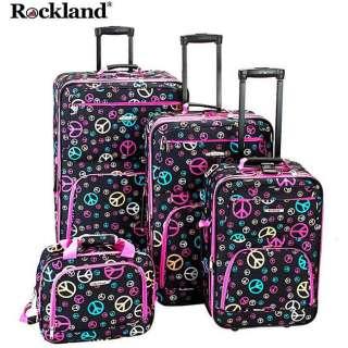 Rockland Designer PEACE Symbol Sign 4 Piece Luggage Set
