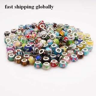 lots assorted Murano Lampwork Glass charm Beads fit euro bracelet PDM