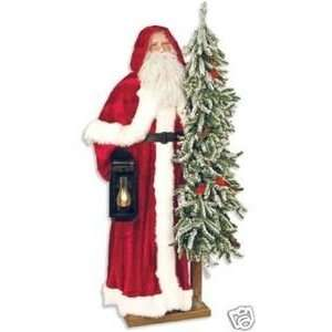 57 Ditz Father Christmas Santa w/ pre lit tree frosted