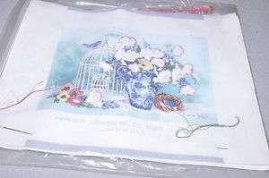 6603 Birdcage Floral Needle Point Kit partial complete