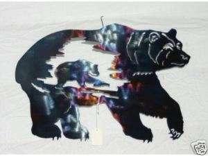 Fishing Bear Metal Wall Art Sculpture Wildlife Rustic