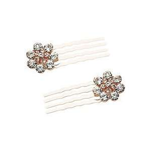 Rose Gold Flower Comb 2 Ct Beauty