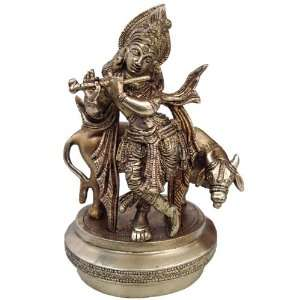 Lord Krishna with Cow Statue Handmade Brass Sculpture Gifts 3.75 x 4.5