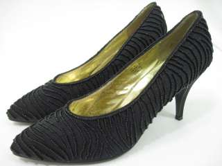 FLINGS Black Beaded Slides Pumps Heels Shoes Sz 10