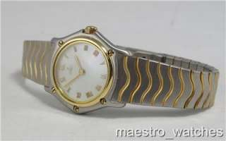 Ebel Ladies Stainless Steel & 18K Gold MOP Roman Dial Quartz Watch