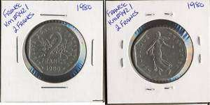 Foreign Coins France 1980 KM#942.1 2 Francs |