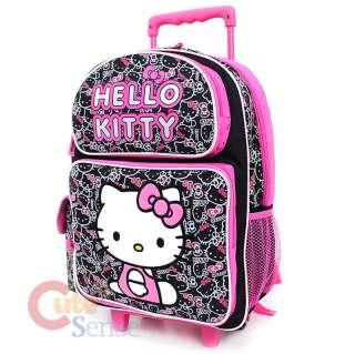 Hello Kitty School Roller Backpack Rolling Bag Black Outline 2