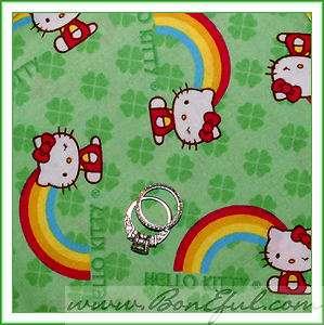 BOOAK Fabric Hello Kitty Rainbow 4 Leaf Clover St Patricks Day Irish