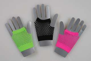 hot pink FISHNET GLOVES womens halloween costume OS