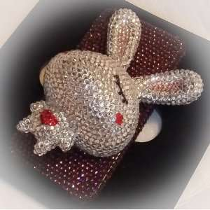 Handmade Crystal 3D Rabbit (White) Iphone 4/4s Case + Screen Protector