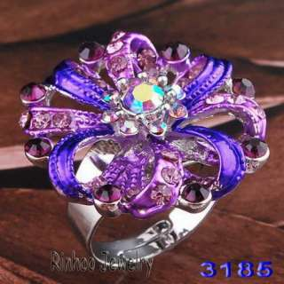 Y31042 mix floral adjustable rings white gold plated 6pcs free