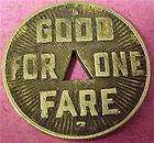 GOOD FOR ONE FARE PITTSBURG RAILWAYS TOKEN(1922) 7221C
