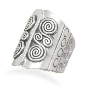Oxidized Sterling Silver Ring With Open Top Design Coil Pattern Tapers