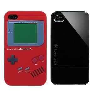 2pcs Set Nintendo Game Boy Silicone Case Red + KoreTech (TM) Glider