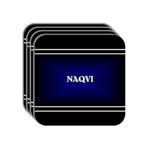 Personal Name Gift   NAQVI Set of 4 Mini Mousepad Coasters (black