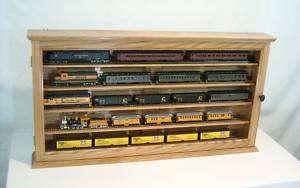Shelf HO Scale Train Display Case Cabinet Solid Oak