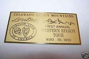 1969 CAR METAL PLAQUE   AIRFLOW CLUB COLORADO