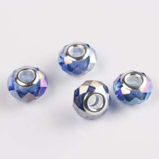 Gj29 Faceted AB Clear Blue Crystal EP Charm Beads 20Pcs