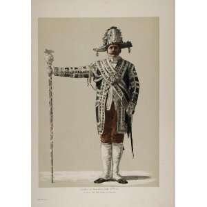 1899 Print German Imperial Guard Uniform Costume Pape   Original Print