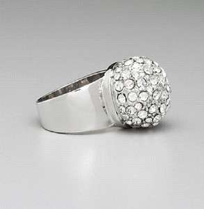 NEW GUESS JEANS CRYSTAL SILVER WIDE BAND PAVE DOME RING RHINESTONES