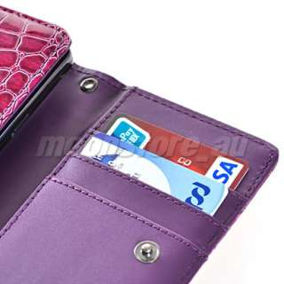 LEATHER WALLET CASE COVER CARD POUCH FOR HTC HD3 / EVO 4G