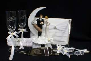 GOLFING GROOM Loving bride Golf Wedding Cake Topper LOT Glasses, knife