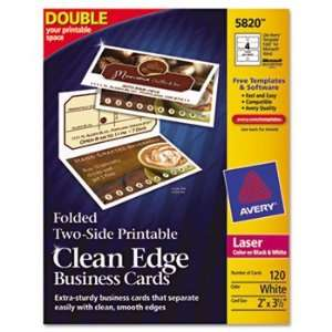 New Avery 5820   Clean Edge Laser Business Cards, 2 x 3 1