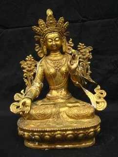 Old Tibetan Gilt Bronze White Tara Statue Nepal 19C