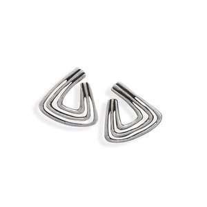 Triangle Shape Three Row Fashion Post Earrings Jewelry