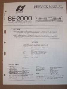 Sansui Service Manual~SE 2000 Graphic Equalizer