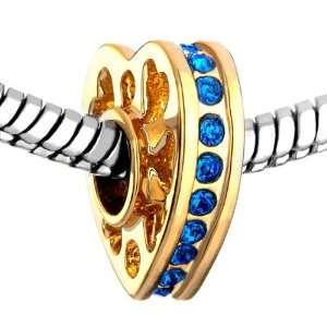Golden Heart Sapphire Crystal September Birthstone Beads Fits Pandora