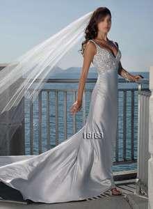 Beach Gray Silver Prom/Bridal Gown/Wedding Dress Custom size Free