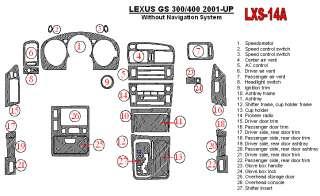 Lexus GS300/430 01 05 Wood Chrome Dash Trim Kit Parts