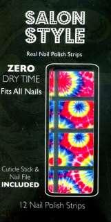 Salon Style NAIL POLISH STRIPS Full Kit TIE DYE Bright Multi Stick On