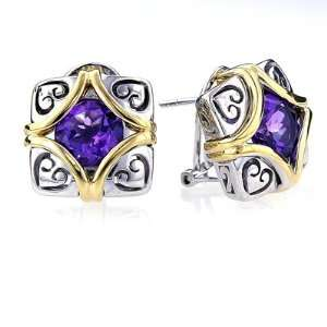 Sterling Silver Gold Square/Heart Amethyst Earrings Jewelry