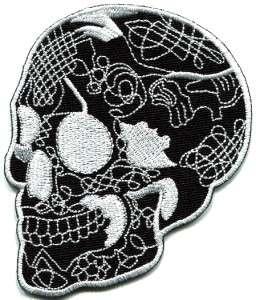 Skull tattoo horror biker goth emo punk rock metal applique iron on