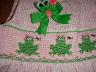 CASTLES & CROWNS Lunchtime Frog Smocked Dress and M2M Hair Bow 4