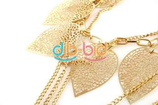 Fashion Charm Ladies Bohemia Style Leaves Multilayer Long Necklace
