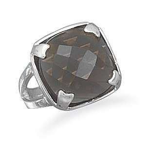 CleverSilvers Square Faceted Smoky Quartz Sterling Silver