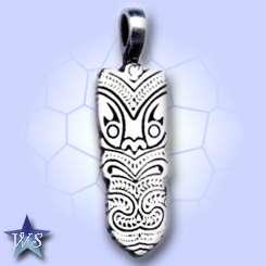 WS708 Happy Face Maori Silver Pewter Pendant