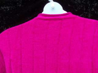 2X SWEATER MAGENTA HOT PINK VELOR FEEL SOFT WIDE RIB