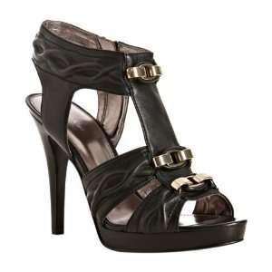 Calvin Klein black nappa leather Kate t strap sandals