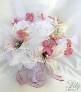Piece Wedding Bridal Bride Bouquet Flowers PINK WHITE MAUVE IVORY LILY