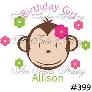 Mod Monkey Girl Party Favor Birthday tshirt shirt name age customized