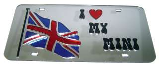 Union Jack Flag Mirror License Plate I LOVE MINI COOPER