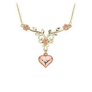 14kt. Two Tone Gold, Rose and Heart Necklace: Jewelry