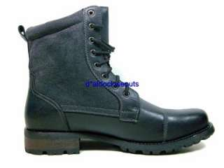 Mens Black Military Combat Style Calf High Lace Up Boots Polar Fox by